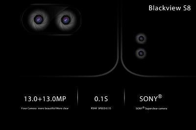 Blackview S8 mit 4 Kameras und einem Seitenverhältnis von 18:9