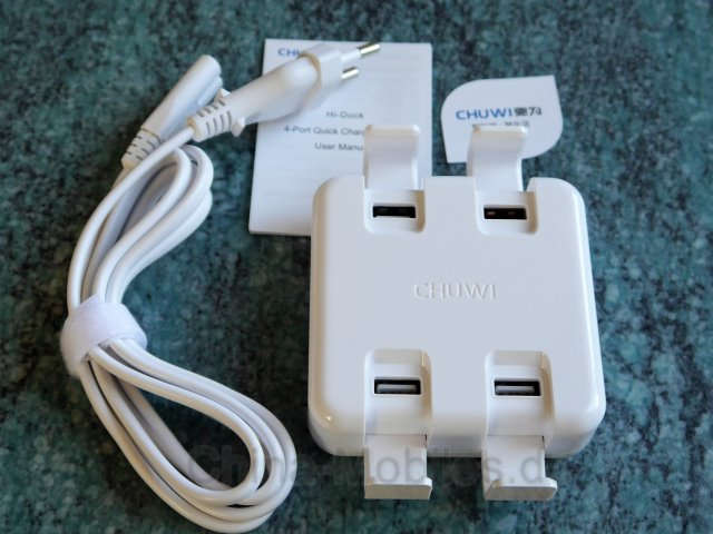 CHUWI W-100 // Review // Port USB Desktop Charger 3 x USB Typ A 1 x Qualcomm® Quick Charge™3.0 - Ein QC-Ladegerät im Test