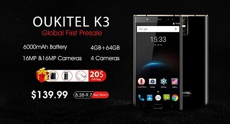Oukitel startet den Vorverkauf für das K3 - Für 120€ bekommt man einiges geliefert!