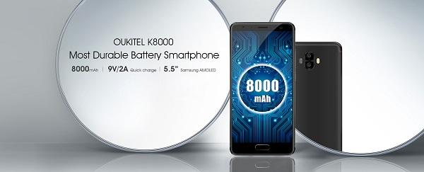 Oukitel K8000 mit einem 5.5 Zoll HD Samsung AMOLED LCD Display