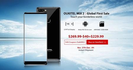 Oukitel startet den globalen Vorverkauf für das Mix2 - Mit Coupon bis zum 04.12 für 230€ erhältlich!