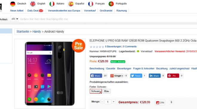 ELEPHONE U PRO 6GB RAM 128GB ROM Qualcomm Snapdragon im PreSales bei eFox