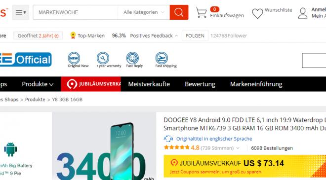 DOOGEE Promotion auf AliExpress: 20% Rabatt auf Smartphones am 28. März 2019